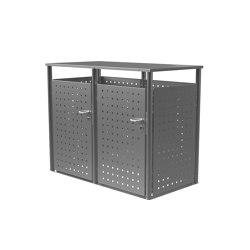 Basic | Edelstahl Mülltonnenbox BASIC 750V1 - 2-fach - Edelstahl geschliffen Türanschlag links * Schloß rechts | Waste baskets | Briefkasten Manufaktur