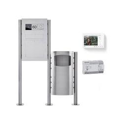 Basic | Edelstahl Standbriefkasten Designer BIG mit Abfallbehälter - GIRA System 106 - Video- Sprechanlage Rechts | Waste baskets | Briefkasten Manufaktur