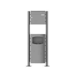 Basic | 1er Standbriefkasten Design BASIC Plus 381X ST-R mit Abfallbehälter - Edelstahl V2A geschliffen 100mm Tiefe | Waste baskets | Briefkasten Manufaktur