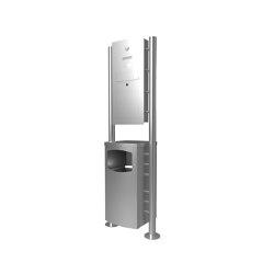 Basic | Edelstahl Standbriefkasten Designer Modell ST-R mit Abfallbehälter - Clean Edition - INDIVIDUELL | Waste baskets | Briefkasten Manufaktur