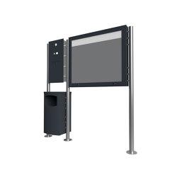 Basic | Edelstahl Standbriefkasten Designer ST-R mit Abfallbehälter & Schaukasten - Clean Edition - RAL Rechts | Waste baskets | Briefkasten Manufaktur