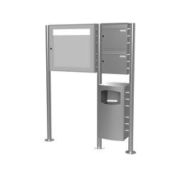 Basic   2er Edelstahl Standbriefkasten Design BASIC Plus 381X ST-R mit Abfallbehälter & Schaukasten Rechts 100mm Tiefe   Waste baskets   Briefkasten Manufaktur