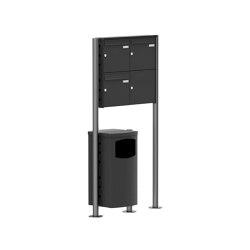 Basic | 3er 2x2 Edelstahl Standbriefkasten Design BASIC Plus 381X ST-R mit Abfallbehälter - RAL nach Wahl Rechts 100mm Tiefe | Waste baskets | Briefkasten Manufaktur