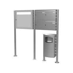 Basic | 3er 2x2 Edelstahl Standbriefkasten Design BASIC Plus 381X ST-R mit Abfallbehälter & Schaukasten Rechts 100mm Tiefe | Waste baskets | Briefkasten Manufaktur