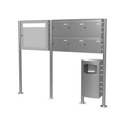 Basic | 6er 2x3 Edelstahl Standbriefkasten Design BASIC Plus 381X ST-R mit Abfallbehälter & Schaukasten Rechts 100mm Tiefe | Waste baskets | Briefkasten Manufaktur