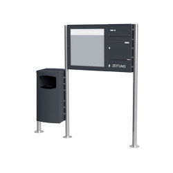 Basic | 1er Standbriefkasten Design BASIC 381 ST-R mit Abfallbehälter & Schaukasten - RAL 7016 anthrazitgrau Rechts Rechts | Waste baskets | Briefkasten Manufaktur