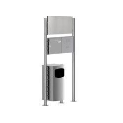 Basic | Edelstahl Standbriefkasten BASIC Plus 381X ST-R mit Abfallbehälter - Werbeschild - Klingelkasten Rechts Rechts 100mm Tiefe | Waste baskets | Briefkasten Manufaktur