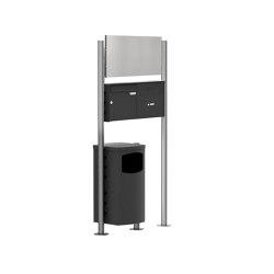 Basic | Standbriefkasten Design BASIC Plus 381X ST-R mit Abfallbehälter - Werbeschild - Klingelkasten - RAL Rechts Rechts 100mm Tiefe | Waste baskets | Briefkasten Manufaktur