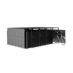 Basic | Edelstahl Außenanlage mit 4x Fahrradgarage - 4x Mülltonnenbox - 12x Paketkasten - RAL nach Wahl | Bicycle lockers | Briefkasten Manufaktur
