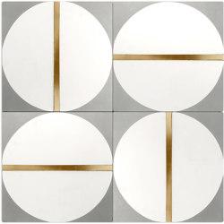 Brass Inlay Cement Tile   Circle   Beton Fliesen   Eso Surfaces
