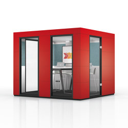 Conference Unit | Chilli Red | Soundproofing room-in-room systems | OFFICEBRICKS