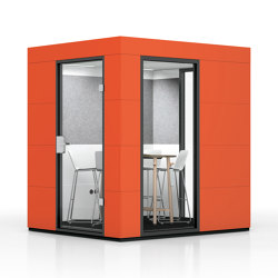 Meeting Unit |  Sunset Orange | Soundproofing room-in-room systems | OFFICEBRICKS