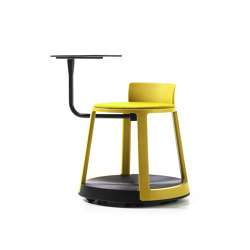 Revo | Stool with Castor Base, Tablet and Upholstery | Stools | TOOU