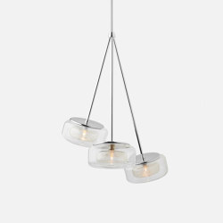 Halo Trio Pendant - Clear Drizzle   Suspended lights   Shakuff
