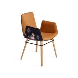 Amelie | Armchair High mit Holzgestell mit umlaufendem Metallring | Stühle | FREIFRAU MANUFAKTUR