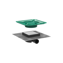hansgrohe RainDrain Spot Point drain 15 x 15 cm reversible grate with tileable and steel cover   Plate drains   Hansgrohe