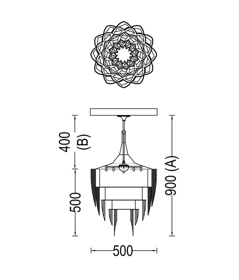 Protea - 500 -  suspended de Willowlamp | Suspensions