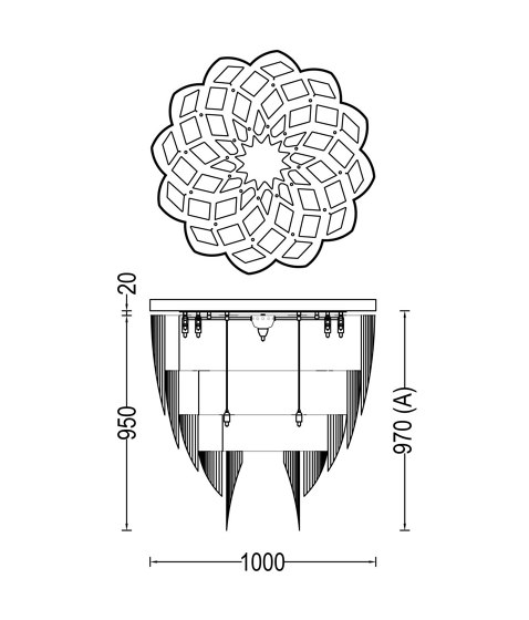 Protea - 1000 - ceiling mounted by Willowlamp | Ceiling lights