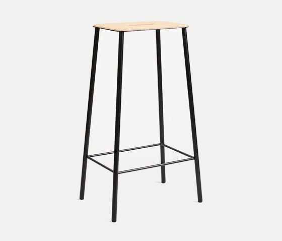 Adam stool H76 Black Leather by Frama | Bar stools