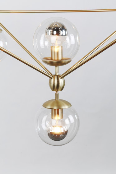 Modo Chandelier - 4 Sided, 15 Globes (Brass/Clear) by Roll & Hill | Suspended lights