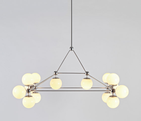 Modo Chandelier - Rectangle, 14 Globes (Polished nickel/Cream) de Roll & Hill | Suspensions