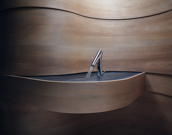 AXOR Starck Organic Electronic basin mixer with temperature control, battery-operated by AXOR | Wash basin taps