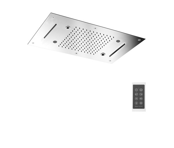 Harmonia F2904 | Ceiling mounted stainless steel showerhead with rain flow, 2 cascade, cromotherapy and audio by Fima Carlo Frattini | Shower controls
