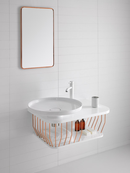 Bowl Wall Mounted Mirror with Metallic Tubular Frame by Inbani | Bath mirrors