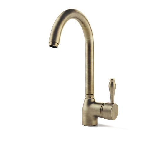 TAPS | MIXER TAP WITH CURVED GOOSENECK SPOUT by Officine Gullo | Kitchen taps