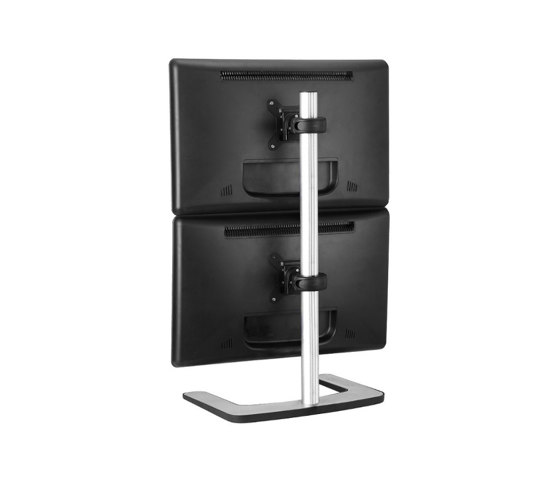 Set & Forget | Dual Display Vertical Mount with a Freestanding Base VFS-DV de Atdec | Accessoires de table