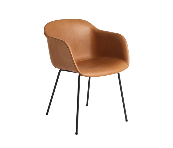 Fiber Armchair | Tube Base | Leather by Muuto | Chairs