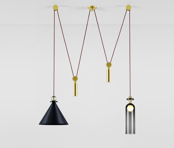 Shape Up Double Pendant (Blackened steel) by Roll & Hill   Suspended lights