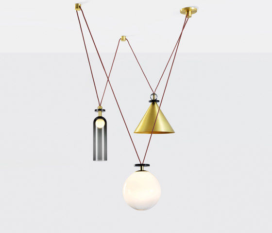 Shape Up 3-Piece Chandelier (Brushed brass) by Roll & Hill | Suspended lights