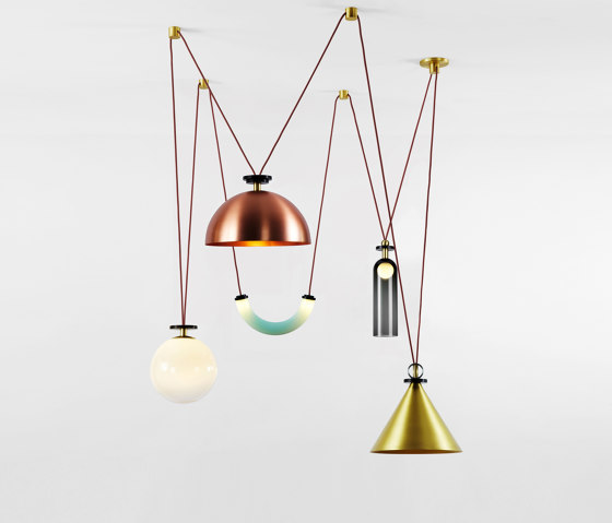 Shape Up 5-Piece Chandelier (Brushed brass cone/Brushed copper hemisphere) by Roll & Hill | Suspended lights