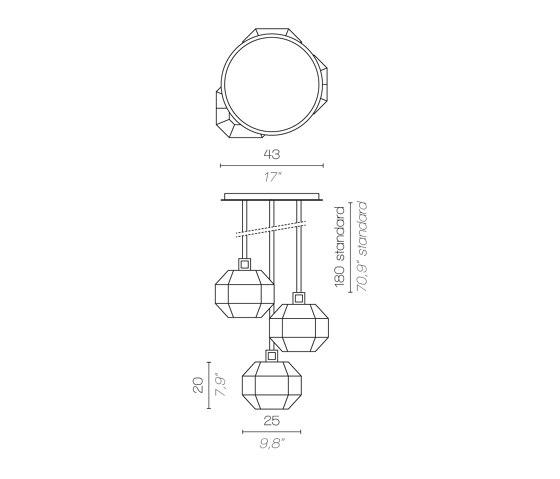 TREASURE CLUSTER OF 3 DELUXE de Contardi Lighting | Suspensions