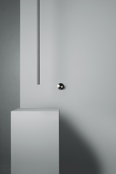 Ottavo | Stainless steel Wall mounted mixer with ceiling spout by Quadro | Wash basin taps