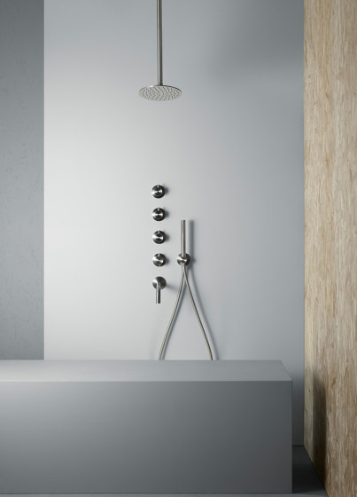 Ottavo | Stainless steel thermostatic mixer set by Quadrodesign | Shower controls