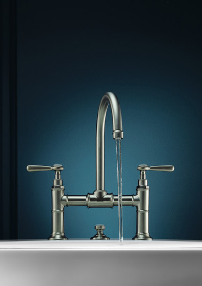 AXOR Montreux 2-handle basin mixer 220 with pop-up waste set and lever handles by AXOR | Wash basin taps