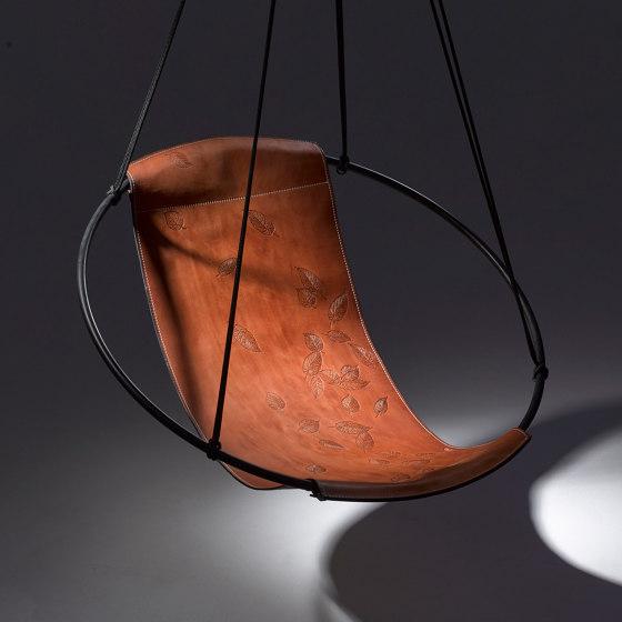 Sling Hanging Chair - Debossed Leather Leaves by Studio Stirling   Swings