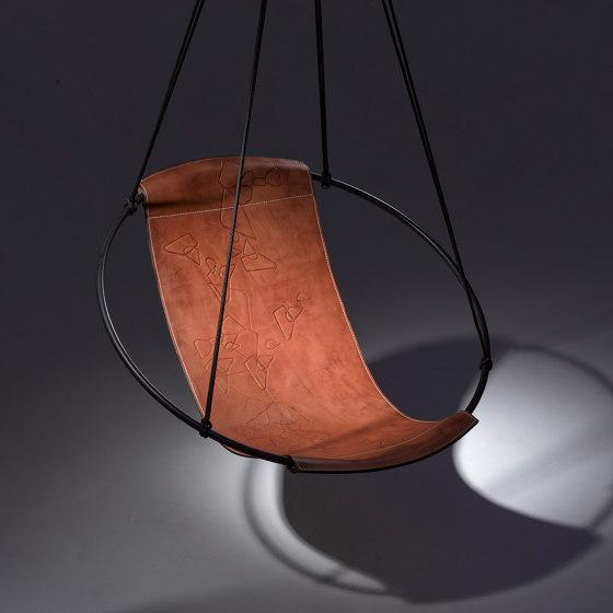 Sling Hanging Chair - Debossed Leather Geometrics by Studio Stirling | Swings