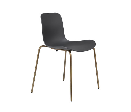 Langue Stack Dining Chair, Brass / Anthracite Black by NORR11 | Chairs