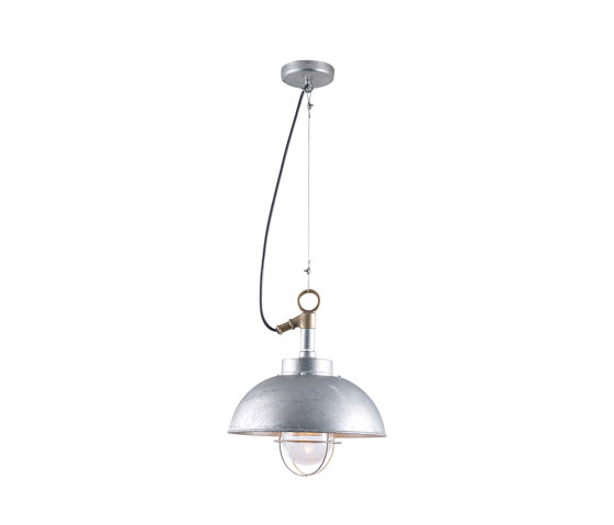 7222 Shipyard Pendant, Galvanised, Clear Glass by Original BTC   Suspended lights