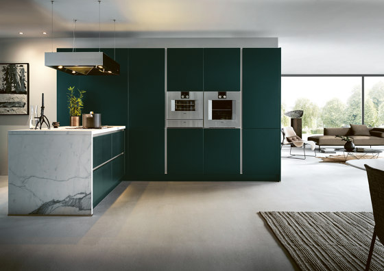 NX 505 Jaguar green satin by next125 | Fitted kitchens