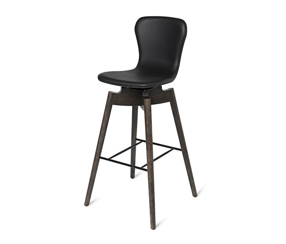 Shell Bar Stool - Ultra Black - Sirka Grey Oak von Mater | Stühle