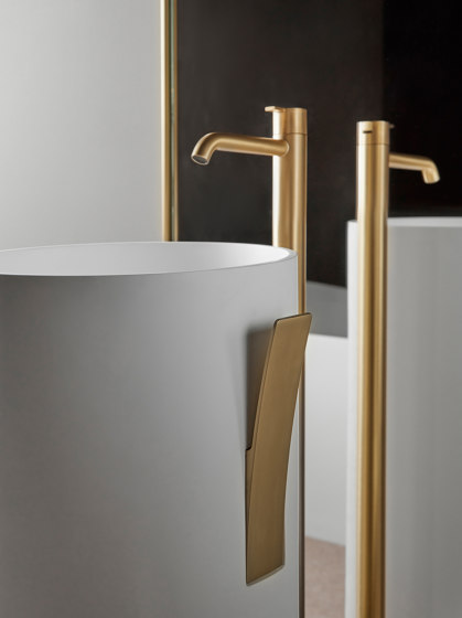 Code Brushed Gold freestanding basin mixer by Inbani   Wash basin taps