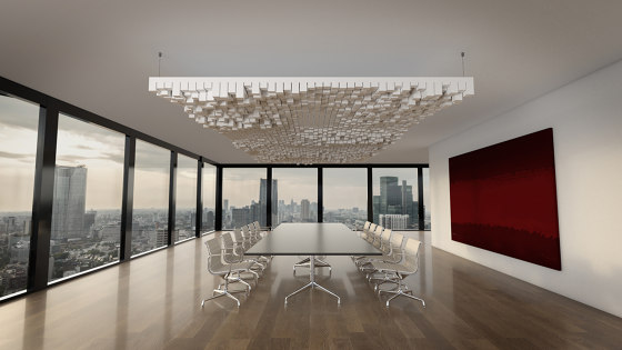 Basotect | designed acoustic baffle connected by SPÄH designed acoustic | Sound absorbing suspended panels