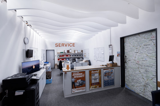 da baffle connected curve by SPÄH designed acoustic | Acoustic ceiling systems