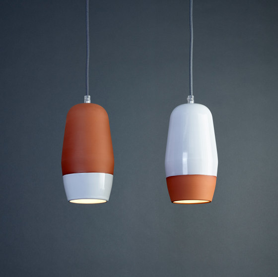 Terracotta Small (Top Glazed) by Hand & Eye Studio   Suspended lights
