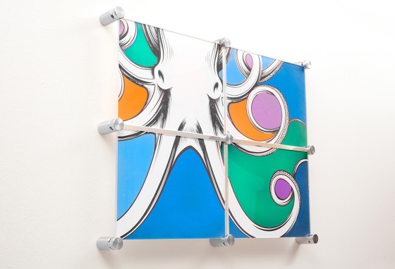 Hanging Hardware for Multi-Panel Artwork by Gyford StandOff Systems® | Glass holders