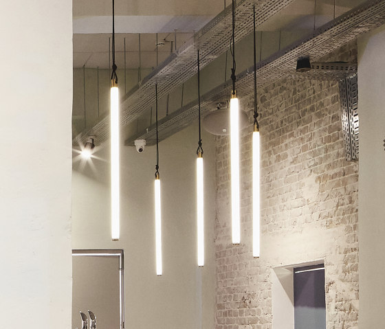 Light Object 017 - LED light, ceiling, natural brass finish by Naama Hofman Light Objects | Suspended lights